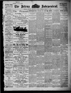 The Helena Independent Gazetesi 1 Ocak 1889 kapağı