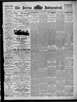 The Helena Independent Gazetesi 3 Ocak 1889 kapağı