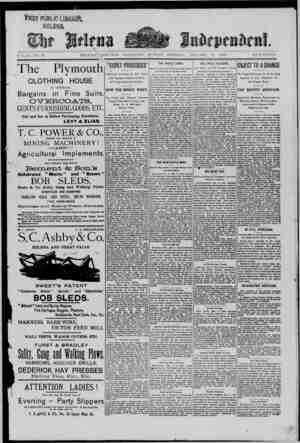 The Helena Independent Gazetesi 6 Ocak 1889 kapağı