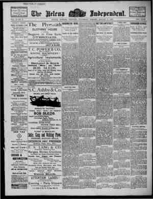 The Helena Independent Gazetesi 9 Ocak 1889 kapağı