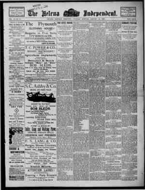 The Helena Independent Gazetesi 10 Ocak 1889 kapağı