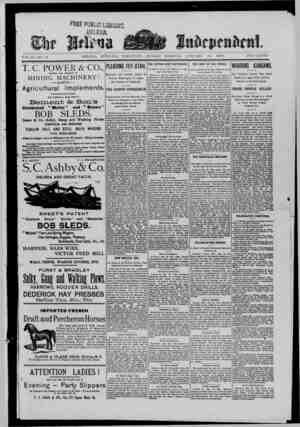 The Helena Independent Gazetesi 13 Ocak 1889 kapağı