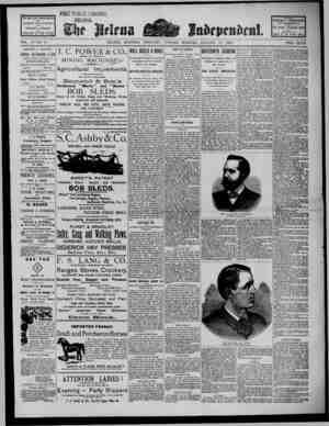 The Helena Independent Gazetesi 15 Ocak 1889 kapağı