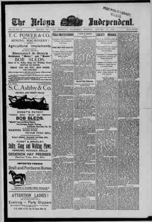 The Helena Independent Gazetesi 16 Ocak 1889 kapağı