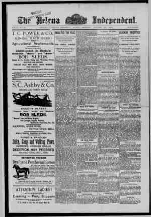 The Helena Independent Gazetesi 20 Ocak 1889 kapağı