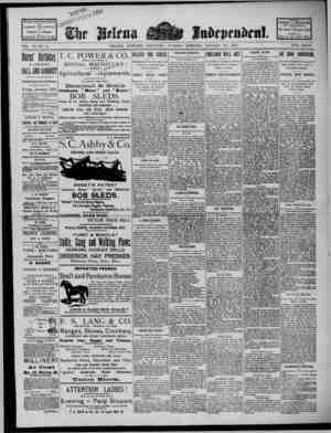 The Helena Independent Gazetesi 22 Ocak 1889 kapağı