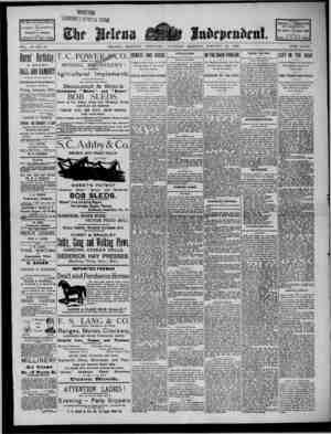 The Helena Independent Gazetesi 24 Ocak 1889 kapağı