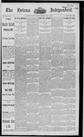 WatSelena mm01 o a 33ai VOL.XXXI.-NO. 69 HELENA, MONTANA. MONDAY MORNING. APRIL 7. 1890 PRICE, FIVE CENTS TWO BuiiiSllTll...