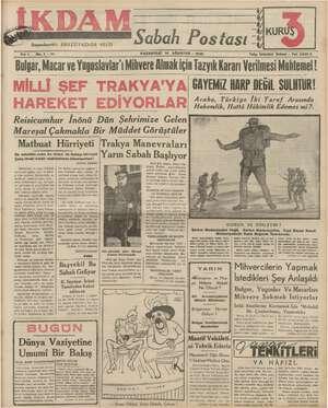 İkdam (Sabah Postası) Gazetesi 14 Ağustos 1939 kapağı