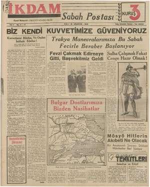 İkdam (Sabah Postası) Gazetesi 15 Ağustos 1939 kapağı