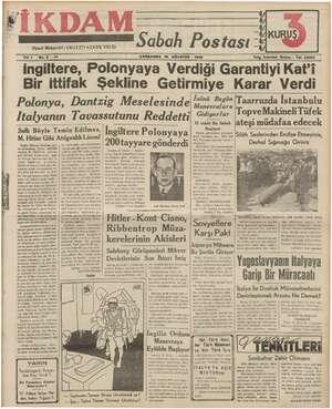 İkdam (Sabah Postası) Gazetesi 16 Ağustos 1939 kapağı