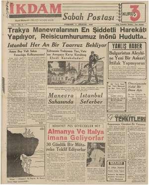 İkdam (Sabah Postası) Gazetesi 17 Ağustos 1939 kapağı