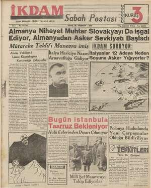İkdam (Sabah Postası) Gazetesi 18 Ağustos 1939 kapağı