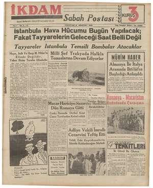 İkdam (Sabah Postası) Gazetesi 19 Ağustos 1939 kapağı