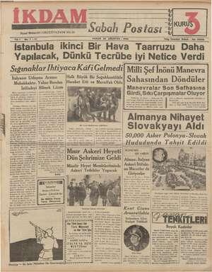 İkdam (Sabah Postası) Gazetesi 20 Ağustos 1939 kapağı