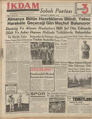 İkdam (Sabah Postası) Gazetesi 21 Ağustos 1939 kapağı