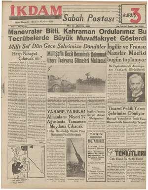 İkdam (Sabah Postası) Gazetesi 22 Ağustos 1939 kapağı
