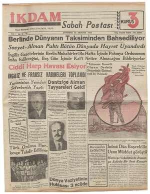 İkdam (Sabah Postası) Gazetesi 23 Ağustos 1939 kapağı