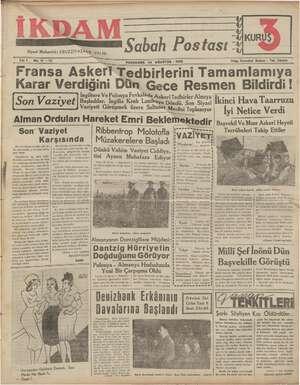 İkdam (Sabah Postası) Gazetesi 24 Ağustos 1939 kapağı
