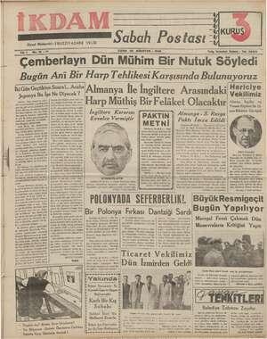 İkdam (Sabah Postası) Gazetesi 25 Ağustos 1939 kapağı