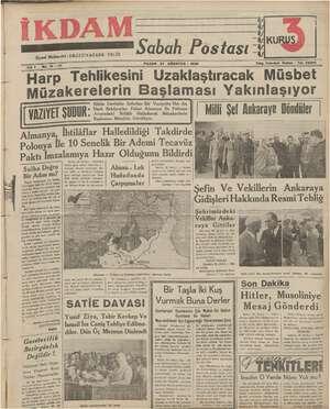 İkdam (Sabah Postası) Gazetesi 27 Ağustos 1939 kapağı