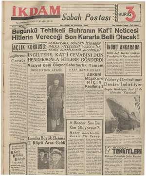 İkdam (Sabah Postası) Gazetesi 28 Ağustos 1939 kapağı