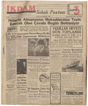 İkdam (Sabah Postası) Gazetesi 29 Ağustos 1939 kapağı