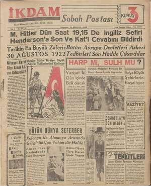 İkdam (Sabah Postası) Gazetesi 30 Ağustos 1939 kapağı