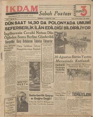 İkdam (Sabah Postası) Gazetesi 31 Ağustos 1939 kapağı