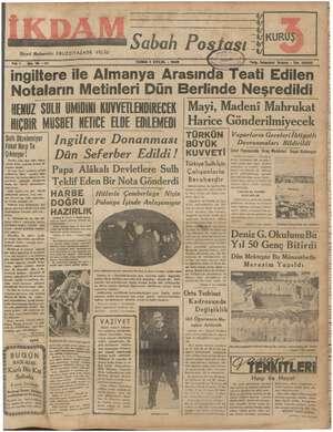 İkdam (Sabah Postası) Gazetesi 1 Eylül 1939 kapağı