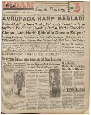 İkdam (Sabah Postası) Gazetesi 2 Eylül 1939 kapağı