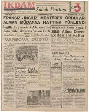 MAM SMM Kk e pekamai a Siyasi Muharriri: EBUZZİYAZADE VELİD Yık 1 FRANSIZ - İNGİLİZ No. 27 —212 Sabah Postası f 4 İ, KUR...