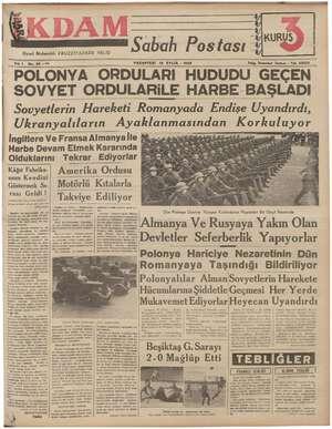 """i yi U Sabah Postası 1"""" İstanbul İkdam - Tel. 23300 Siyasi Muharriri: EBUZZİYAZADE VELİD 1 No. 36 —212 PAZARTESİ 18 EYLÜL -"""