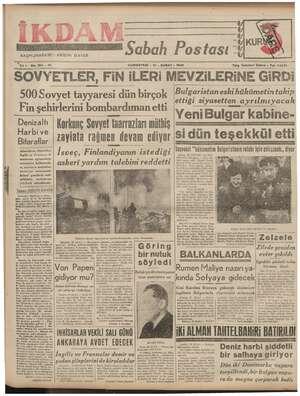 """nn parka Ğİ BAŞMUHARRRİ : ABİDİN DAVER Sabah Postası SS """"Yıl 15 No. 184 —212 """"CUMARTESİ - 17 - ŞUBAT » 1840 Telg. İstanbul"""