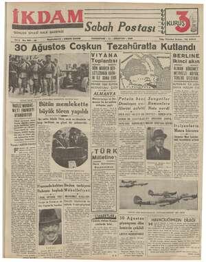 GUNLUK SİYASİ HALK GAZETESİ YUZ No.382 —22 —— Başmuharriri : ABİDİN DAVER CUMARTESİ - 31 - AĞUSTOS « 1940 SS UY Telg....