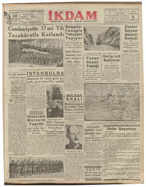 — —— a FİATİ HERYERDE 1940 KURUŞTUR , Elenler İtalyan Akınını Önledi a İtalyan : tayyareleri Yunan şehirlerini bombardıman