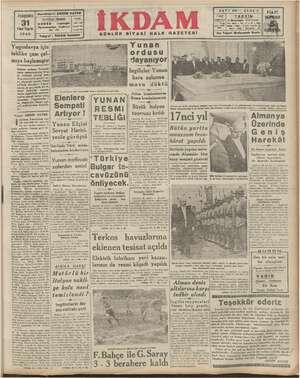 PERŞEMBE İnci Teşrin 1940 GAZETESİ GÜNLÜK SİYASİ HALK Yugoslavya için tehlike çanı çal- mıya başlamıştır Elenlere Sempati