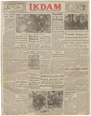 pe PAZAR 2 nciKânur 1941 Yal ? İKDAM İstanbul Italya, aczini itirafa başladı Hitler Balkanlar! «Ida karışıklık «e...