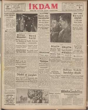 Pazartesi TEMMUZ 1941 : -yetler Birl nız başına | İngilterenin mü. ülessir bir ava hüci kâfi de | Alman işgali altı l...