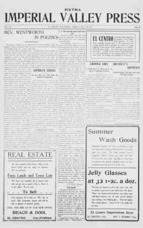 Imperial Valley Press Gazetesi July 23, 1907 kapağı