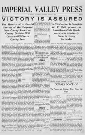 Imperial Valley Press Gazetesi August 3, 1907 kapağı