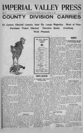 Imperial Valley Press Gazetesi August 10, 1907 kapağı