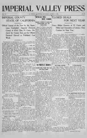 Imperial Valley Press Gazetesi August 17, 1907 kapağı