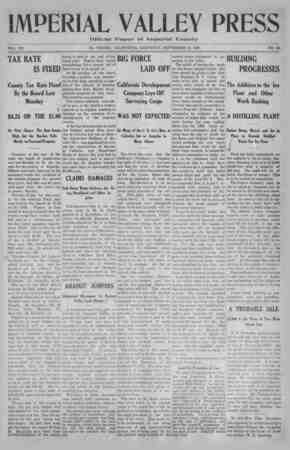 """Imperial Valley Press. """"VOL. VII TAX RATE IS FIXED County Tax Rate Fixed By the Board Last i Monday $4.25 ON THE $1-00 At..."""