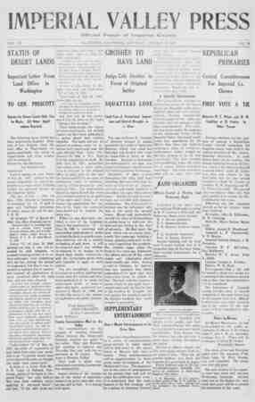 Imperial Valley Press. VOL. VII STATUS OF DESERT LANDS Important Letter From Land Office in Washington TO GEN. PRESCOTT...