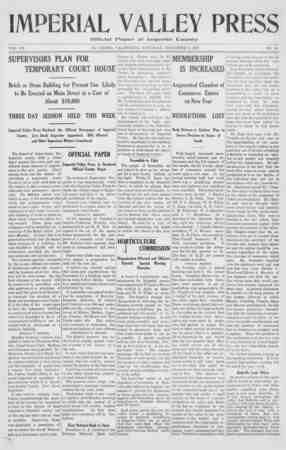 Imperial Valley Press Gazetesi November 9, 1907 kapağı
