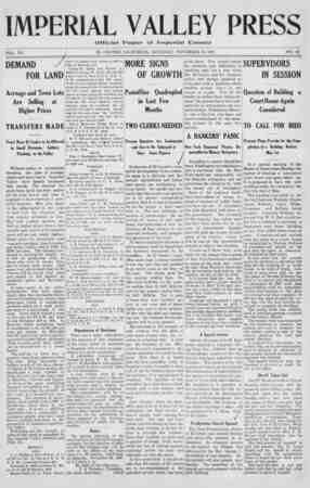 Imperial Valley Press Gazetesi November 16, 1907 kapağı