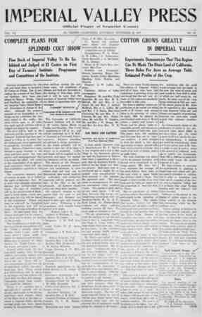Imperial Valley Press Gazetesi November 28, 1907 kapağı