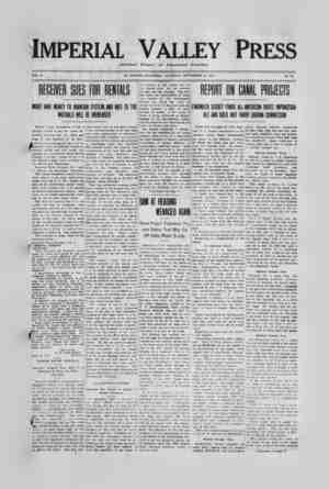 Imperial Valley Press Gazetesi 10 Eylül 1910 kapağı