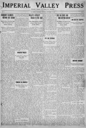 Imperial Valley Press Gazetesi 17 Eylül 1910 kapağı